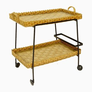 Vintage Bamboo and Wicker Bar Cart
