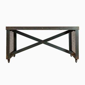 Mesa de centro inglesa vintage de acero y roble