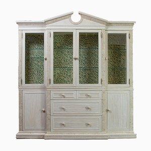 English Beech Travertine Breakfront Display Cabinet, 1980s