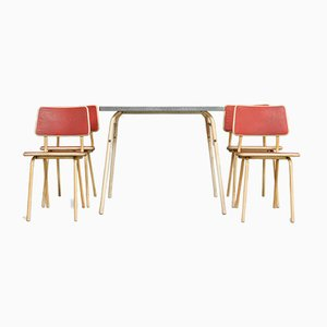 French Red Steel Dining Table & Chairs Set, 1950s, Set of 5