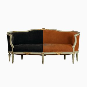 French Beech and Velour Sofa, 1930s