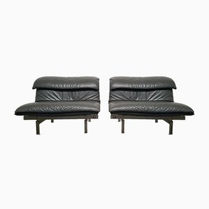 Dark Gray Wave Lounge Chairs by Giovanni Offredi for Saporiti Italia, 1980s, Set of 2