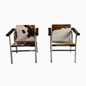 Fauteuils LC1 par Le Corbusier, Charlotte Perriand et Pierre Jeanneret, 1990s, Set de 2