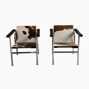 LC1 Lounge Chairs by Le Corbusier, Charlotte Perriand and Pierre Jeanneret, 1990s, Set of 2