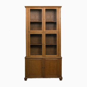 Antique Edwardian English Oak Display Cabinet