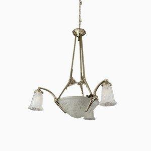 Lámpara de araña de vidrio esmerilado y bronce de Maynadier Pierre, años 30