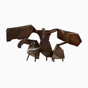Escultura de tres cisnes grande de hierro de Joan Augusta Munro Moore, 1970