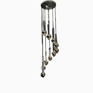 Chromed Metal Cascade Chandelier from Baum Leuchten, 1970s