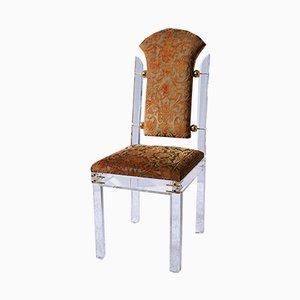 Deutscher Pharao Beistellstuhl aus Plexiglas & Messing mit hoher Rückenlehne von Casarte, 1990er