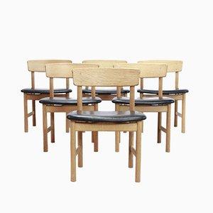 3236 Esszimmerstühle mit Sitzfläche aus schwarzem Leder von Børge Mogensen für Fredericia, 1960er, 6er Set