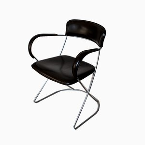 Mid-Century Italian Pioretta Dark brown Leather Armchair from Matteo Grassi