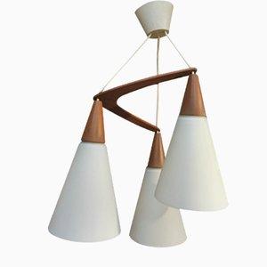 Lámpara colgante Boomerang de teca y vidrio opalino, años 70