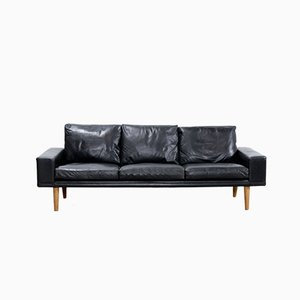 Mid-Century Danish Black Leather Sofa