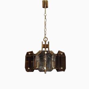 Lampe à Suspension Vintage en Verre Fumé et Laiton par Luigi Colani pour Sische, 1970s