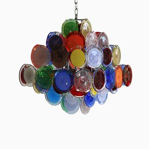 Multi-colored Murano Glass Chandelier from Vistosi, 1988