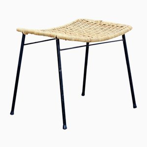 Vintage Black Metal and Rattan Stool, 1950s
