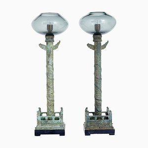 Bronze and Glass Floor Lamps from Curiousa & Curiousa, 1990s, Set of 2