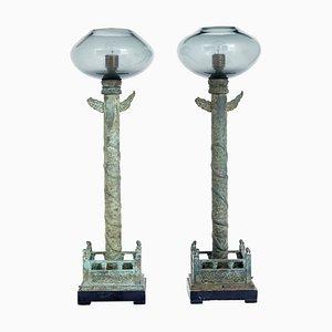 Lámparas de pie de bronce y vidrio de Curiousa & Curiousa, años 90. Juego de 2