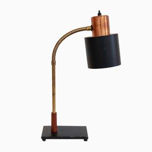 Lámpara de mesa de cobre y latón de Johannes Hammerborg para Fog & Mørup, años 60