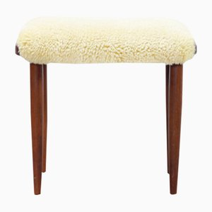Danish Teak and Sheepskin Stool, 1950s