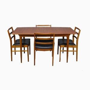 Juego de mesa de comedor y sillas de teca de McIntosh, años 60. Juego de 5