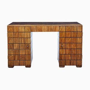 Art Deco Teak Panelled Pedestal Desk, 1920s