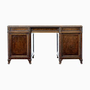 Antique French Burr Walnut Pedestal Desk