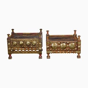 19th Century Moroccan Low Bedside Tables, Set of 2
