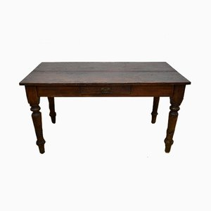Antique Italian Poplar Wood Dining Table