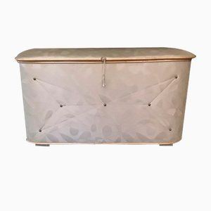 German Wood, Vinyl and Brass Fittings Linen Chest, 1950s