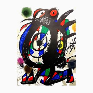 Abstract Lithograph by Joan Miro, 1976