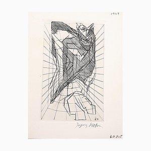 Cubist Cavern Etching by Jacques Villon, 1949
