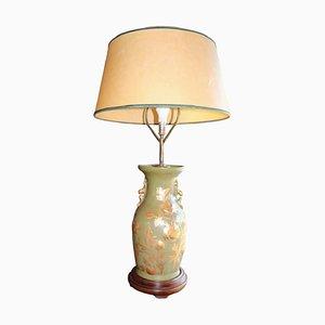 Vintage Tischlampe aus Keramik in Grün & Gold, 1950er