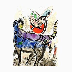 Litografía La Vache Bleue de Marc Chagall, 1967