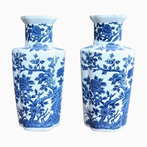 Jarrones vintage de cerámica azul, años 50. Juego de 2