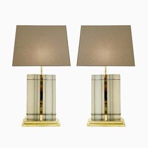 Lámparas de mesa vintage de vidrio esmerilado. Juego de 2