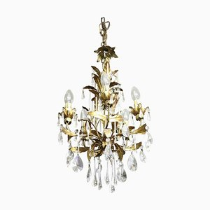Vintage Crystal and Bronze Ceiling Lamp, 1920s
