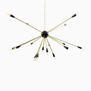 Große Vintage Sputnik Deckenlampe aus Messing