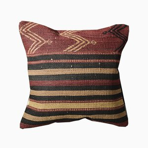 Burnt Orange and Black Wool Striped Kilim Pillow Cover by Zencef Contemporary