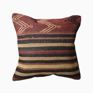 Funda de cojín Kilim naranja oscuro y negro a rayas de lana de Zencef Contemporary