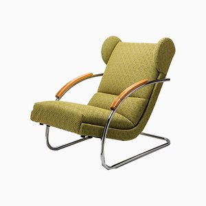 Vintage Bauhaus Tubular Steel Armchair by A. Lorenz for Mücke Melder