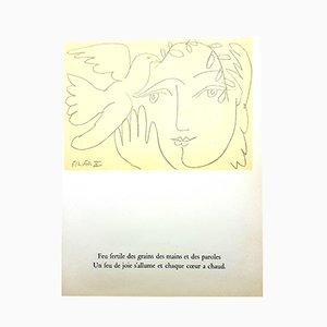 Vintage Gesicht des Friedens Lithografie von Pablo Picasso