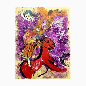 Litografía The Red Rider vintage de Marc Chagall