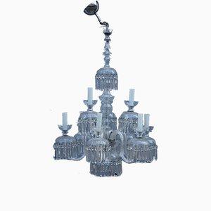 Lámpara de araña redonda de cristal de Bohemia, años 50