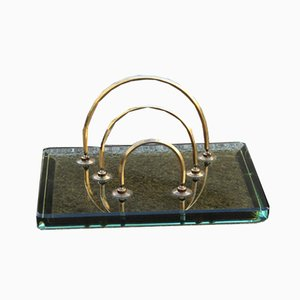 Glass and Brass Letter Tray from Fontana Arte, 1960s
