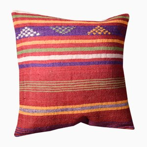 Pink and Purple Wool Striped Kilim Cushion Cover by Zencef Contemporary