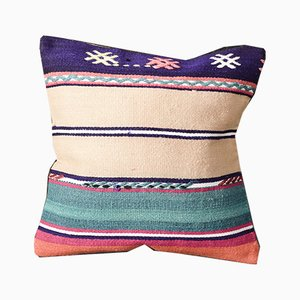 Beige and Orange Wool Striped Boho Cushion Cover by Zencef Contemporary