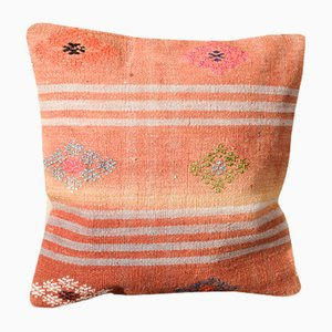Housse de Coussin Kilim Florale en Laine Orange par Zencef Contemporary
