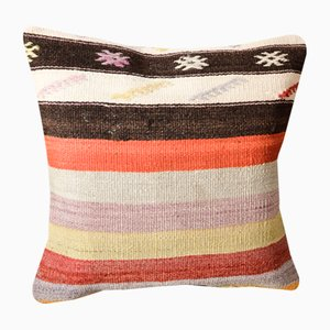 Multicolored Wool Striped Kilim Pillow Cover by Zencef Contemporary