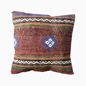 Brown and Blue Bohemian Kilim Pillow Cover by Zencef Contemporary